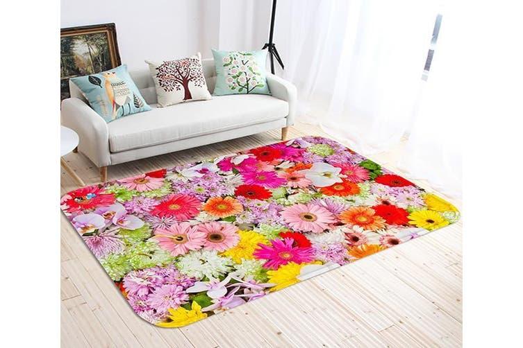 """3D Dense Flowers 124 Non Slip Rug Mat, 160cmx240cm (63""""x94.5"""")"""