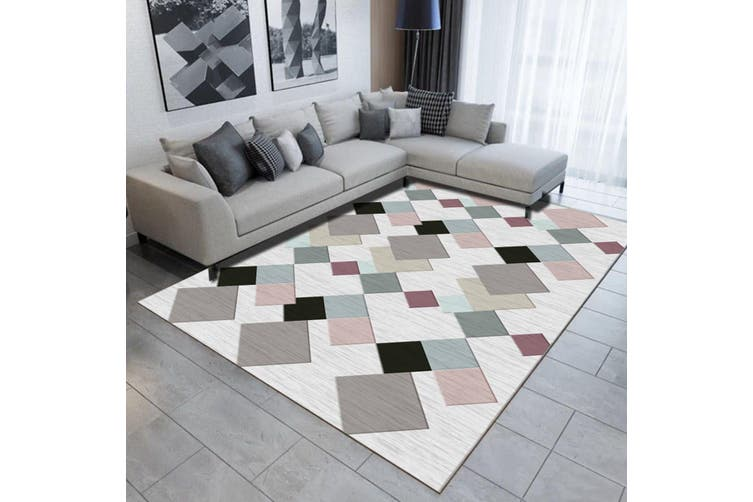 "3D Colored Geometric Pattern WG503 Non Slip Rug Mat, 160cmx240cm (63""x94.5"")"