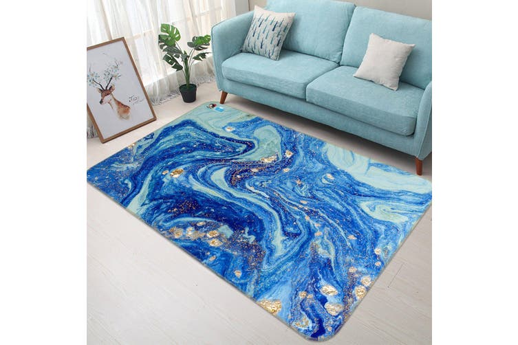 "3D Blue Gradient Wave 47 Non Slip Rug Mat, 140cmx200cm (55.1""x78.8"")"