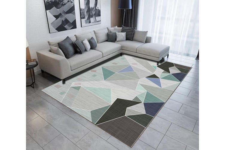 "3D Colored Geometric Pattern WG502 Non Slip Rug Mat, 80cmx120cm (31.4""x47.24"")"