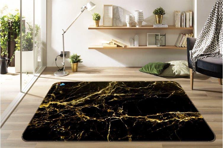 "3D Curved Gold 40 Non Slip Rug Mat, 140cmx200cm (55.1""x78.8"")"
