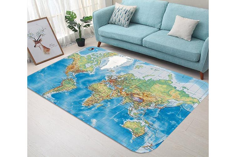 "3D World Map 63 Non Slip Rug Mat, 60cmx90cm (23.6""x35.4"")"