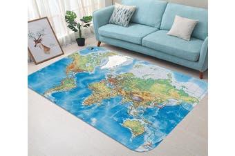 """3D World Map 63 Non Slip Rug Mat, 140cmx200cm (55.1""""x78.8"""")"""