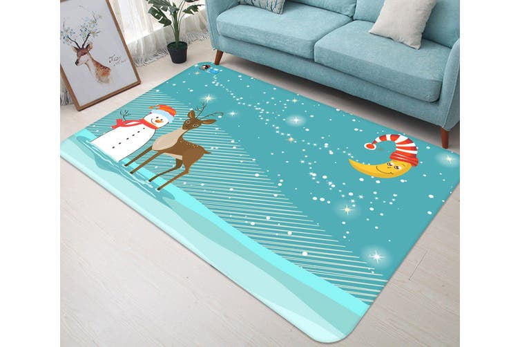 """3D Snowman Deer Moon 034 Non Slip Rug Mat, 160cmx240cm (63""""x94.5"""")"""