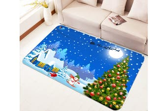 "3D Christmas Tree Skiing 010 Non Slip Rug Mat, 160cmx240cm (63""x94.5"")"
