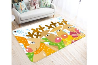 "3D Cartoon Deer Herd 005 Non Slip Rug Mat, 80cmx120cm (31.4""x47.24"")"