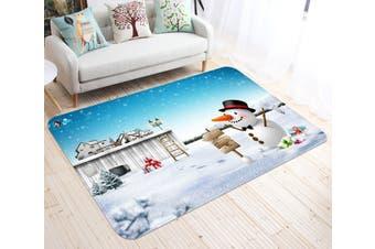 """3D Snowman Street Sign 001 Non Slip Rug Mat, 40cmx60cm (15.7""""x23.6"""")"""