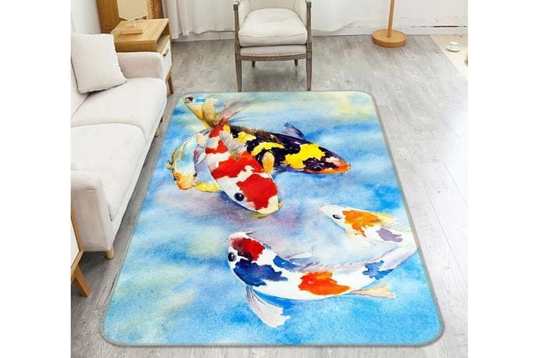"3D Fish Wandering 044 Non Slip Rug Mat, 160cmx240cm (63""x94.5"")"