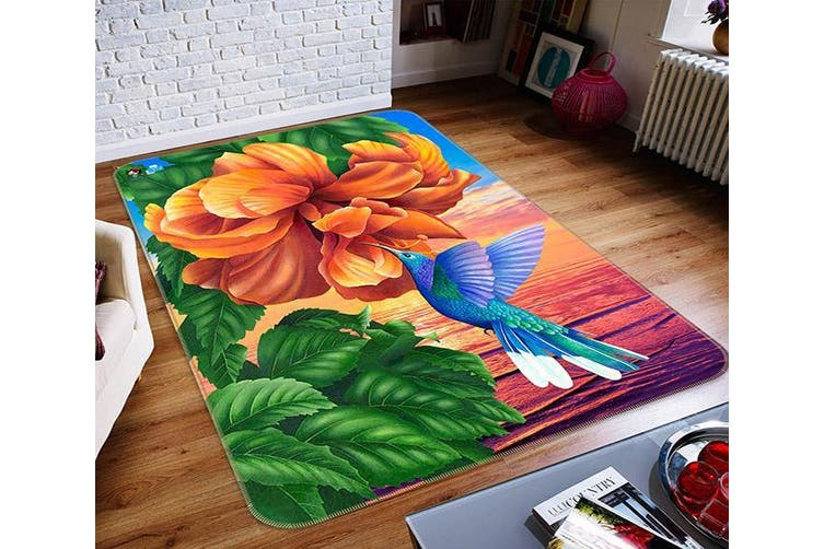 "3D Orange Flower Bird 039 Non Slip Rug Mat, 160cmx240cm (63""x94.5"")"