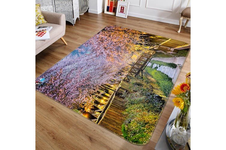"3D Garden Cherry Blossom 693 Non Slip Rug Mat, 140cmx200cm (55.1""x78.8"")"