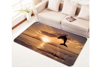 """3D Dusk Dolphin 630 Non Slip Rug Mat, 140cmx200cm (55.1""""x78.8"""")"""