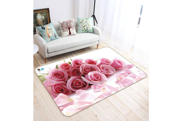 "3D Pink Rose 623 Non Slip Rug Mat, 80cmx120cm (31.4""x47.24"")"