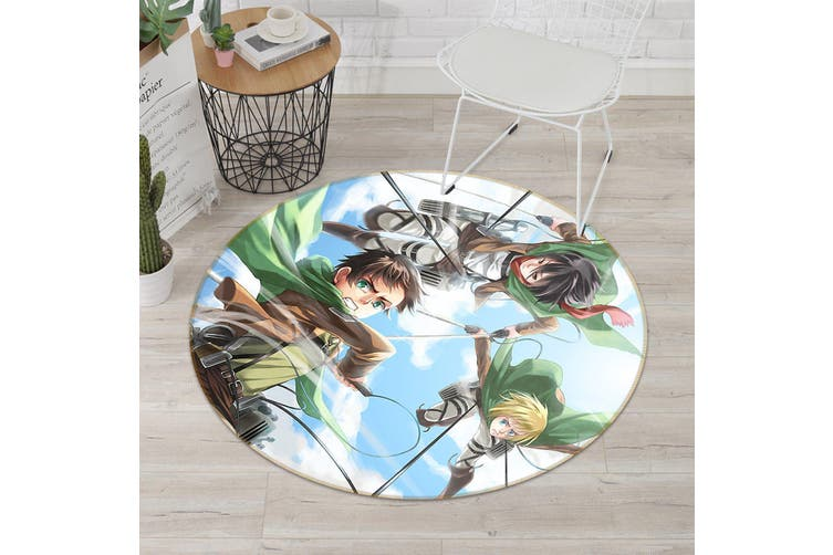 3D Attack On Titan 954 Round Anime Non Slip Rug Mat, 60cm(23.6'')