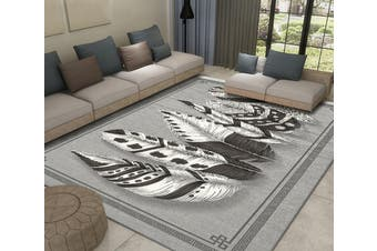 "3D Black And White Feather WG456 Non Slip Rug Mat, 80cmx120cm (31.4""x47.24"")"