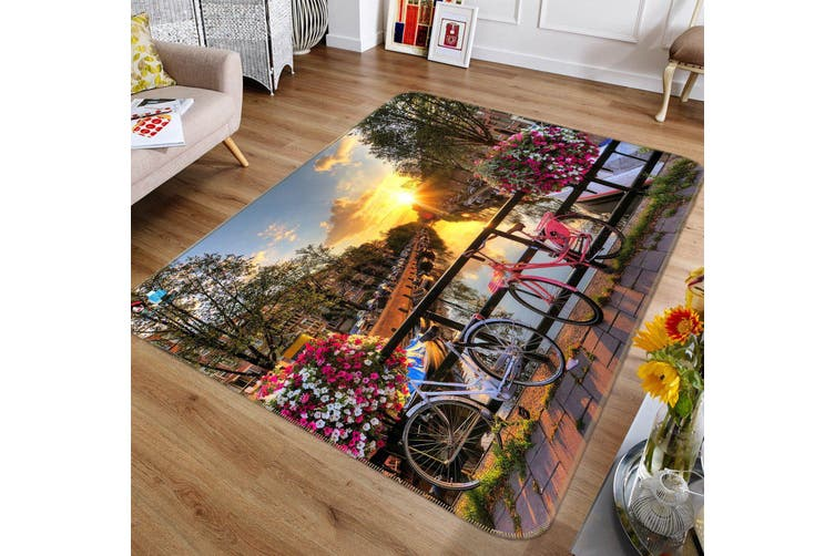 """3D Sunset Bike 519 Non Slip Rug Mat, 80cmx120cm (31.4""""x47.24"""")"""