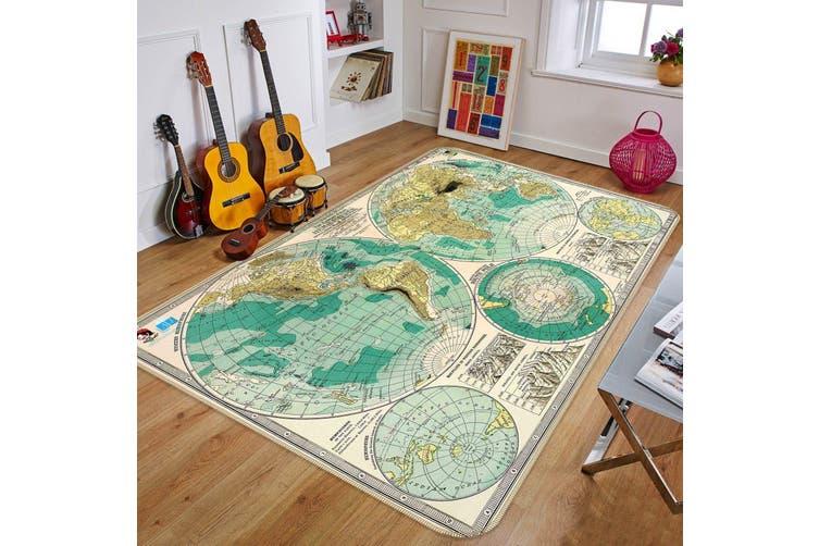 "3D Hemisphere Map 504 Non Slip Rug Mat, 140cmx200cm (55.1""x78.8"")"