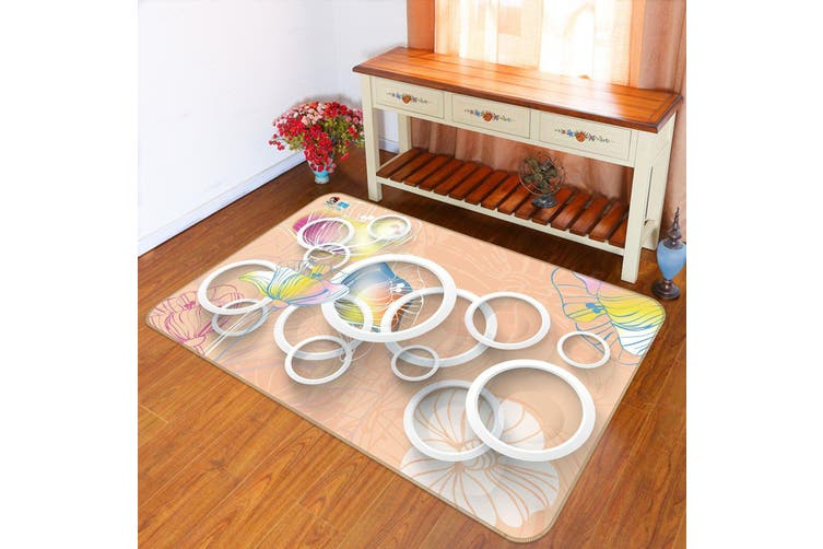 "3D Circular Pattern 500 Non Slip Rug Mat, 60cmx90cm (23.6""x35.4"")"