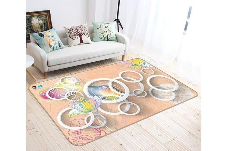 "3D Circular Pattern 500 Non Slip Rug Mat, 120cmx180cm (47.2""x70.9"")"