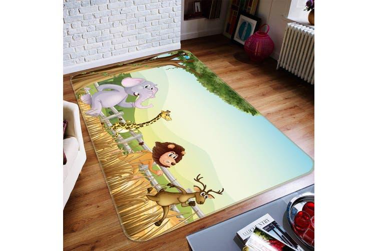 """3D Cartoon Running 494 Non Slip Rug Mat, 140cmx200cm (55.1""""x78.8"""")"""
