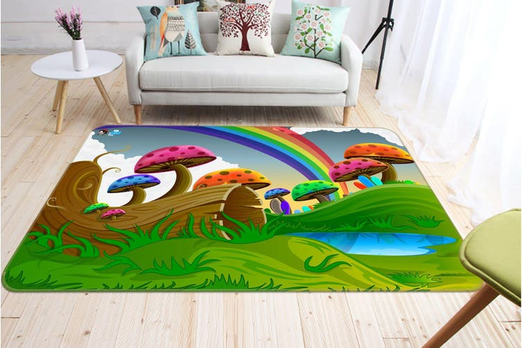 "3D Rainbow Mushroom 493 Non Slip Rug Mat, 140cmx200cm (55.1""x78.8"")"