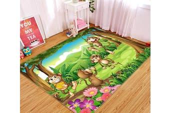 "3D Monkey Rattan 492 Non Slip Rug Mat, 140cmx200cm (55.1""x78.8"")"