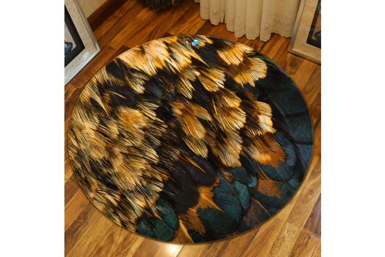 3D Round Feather 97 Round Non Slip Rug Mat, 180cm(70.9'')