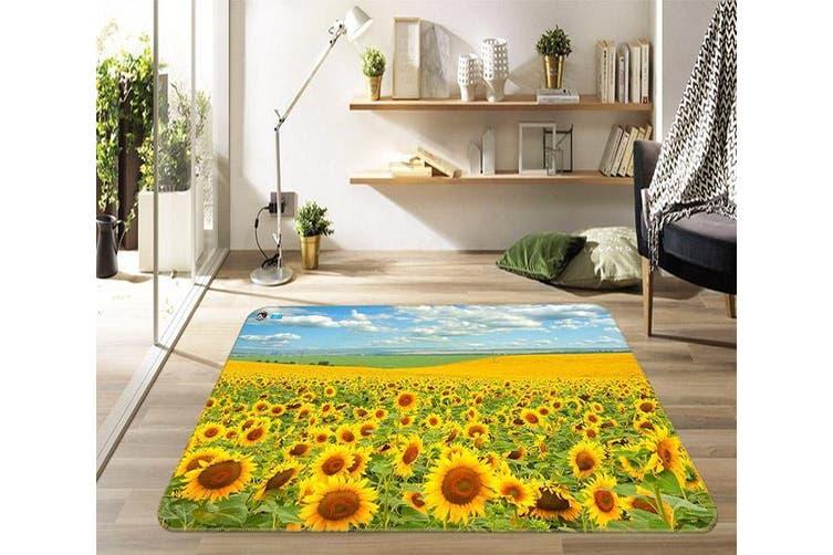 """3D Sunflower Field 455 Non Slip Rug Mat, 140cmx200cm (55.1""""x78.8"""")"""