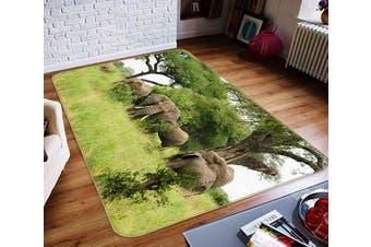 "3D Lawn Elephant 364 Non Slip Rug Mat, 140cmx200cm (55.1""x78.8"")"