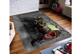 "3D Fierce Dinosaur 361 Non Slip Rug Mat, 140cmx200cm (55.1""x78.8"")"