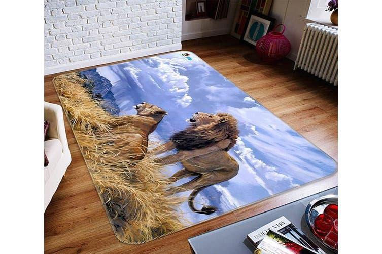 """3D Lion Grass 359 Non Slip Rug Mat, 120cmx180cm (47.2""""x70.9"""")"""