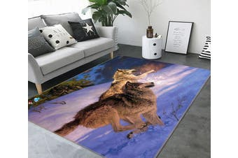 """3D Wolf Snow 358 Non Slip Rug Mat, 60cmx90cm (23.6""""x35.4"""")"""