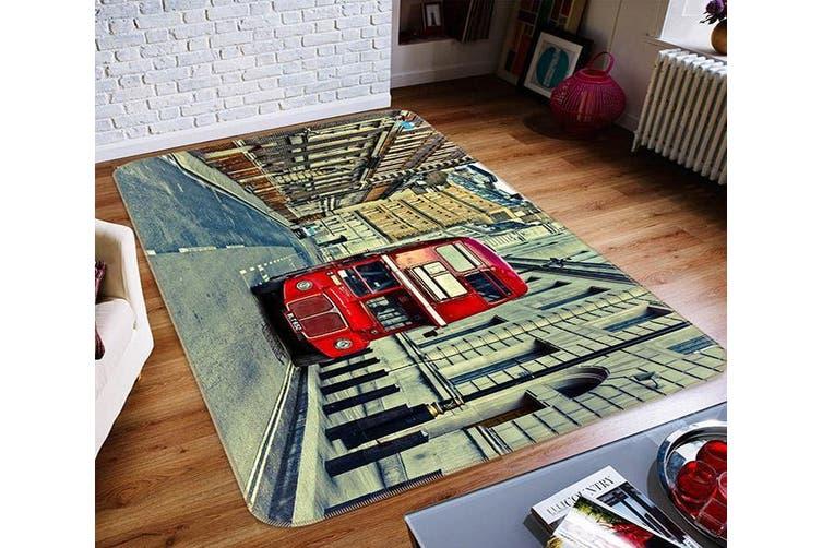 """3D Red Tram 357 Non Slip Rug Mat, 120cmx180cm (47.2""""x70.9"""")"""