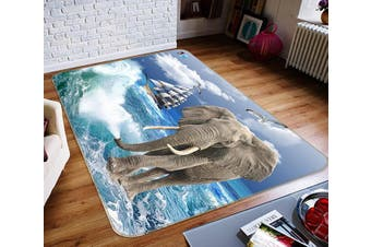 "3D Elephant Surf 336 Non Slip Rug Mat, 40cmx60cm (15.7""x23.6"")"