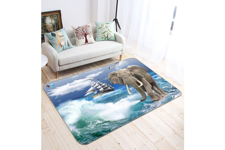 "3D Elephant Surf 336 Non Slip Rug Mat, 160cmx240cm (63""x94.5"")"