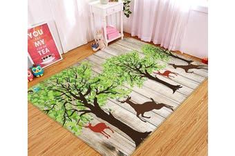 "3D Tree Elk 334 Non Slip Rug Mat, 140cmx200cm (55.1""x78.8"")"