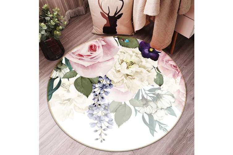 3D Fresh Flower 089 Round Non Slip Rug Mat, 100cm(39.4'')