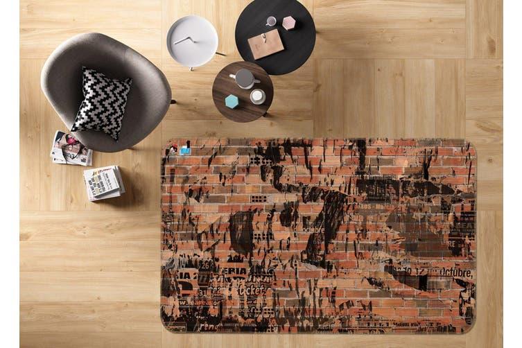 """3D Wall Ink 187 Non Slip Rug Mat, 140cmx200cm (55.1""""x78.8"""")"""