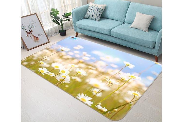 "3D White Chrysanthemum 164 Non Slip Rug Mat, 160cmx240cm (63""x94.5"")"