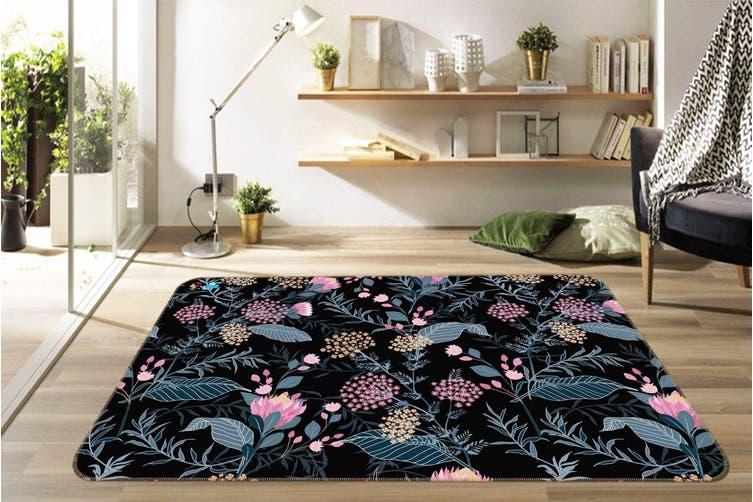"""3D Dark Flower 130 Non Slip Rug Mat, 140cmx200cm (55.1""""x78.8"""")"""