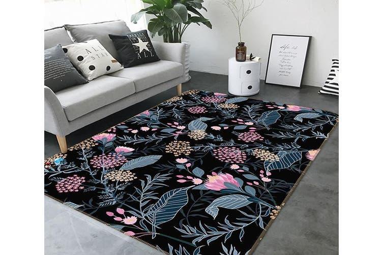 """3D Dark Flower 130 Non Slip Rug Mat, 160cmx240cm (63""""x94.5"""")"""