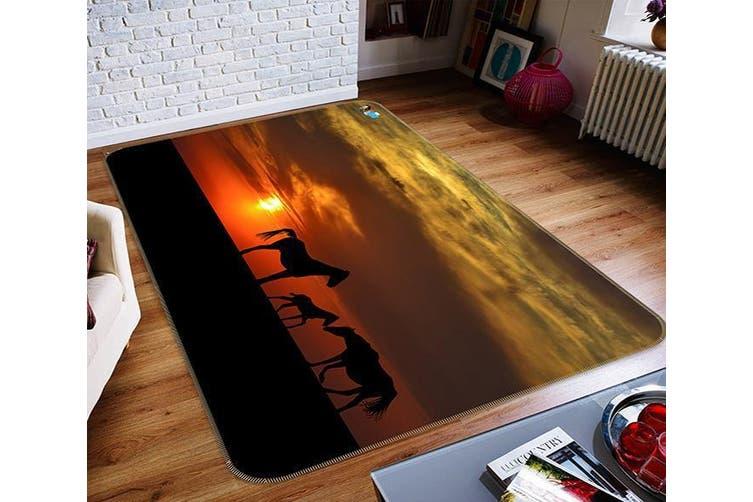"""3D Sunset Horse 128 Non Slip Rug Mat, 140cmx200cm (55.1""""x78.8"""")"""