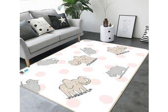 "3D Elephant Pattern 121 Non Slip Rug Mat, 80cmx120cm (31.4""x47.24"")"