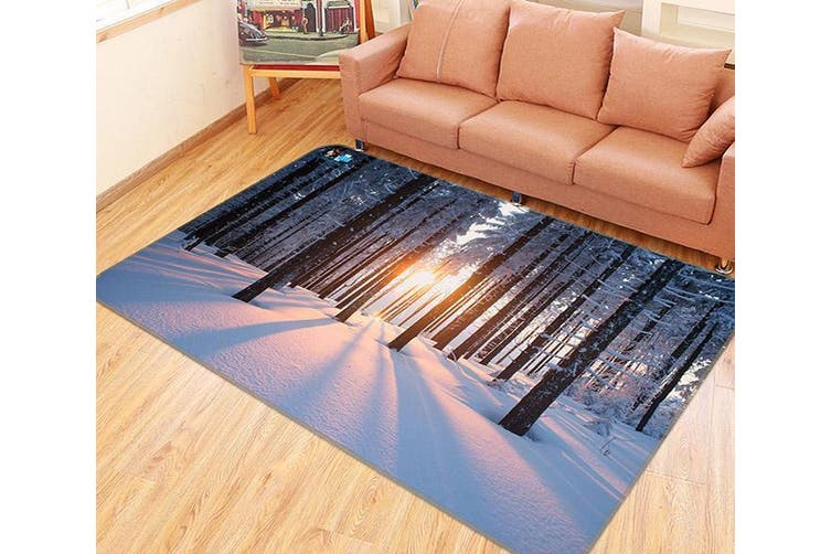 "3D Snow Forest Sunshine 146 Non Slip Rug Mat, 140cmx200cm (55.1""x78.8"")"