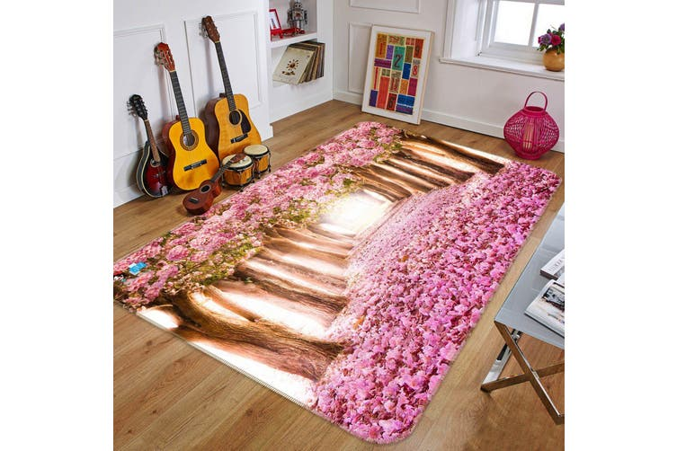 "3D Cherry Blossom Avenue 139 Non Slip Rug Mat, 140cmx200cm (55.1""x78.8"")"