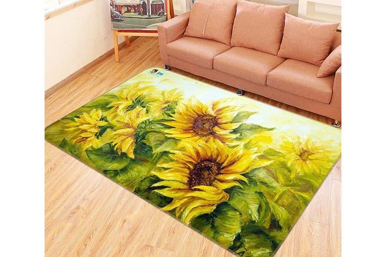 "3D Sunflowers Painting 137 Non Slip Rug Mat, 120cmx180cm (47.2""x70.9"")"