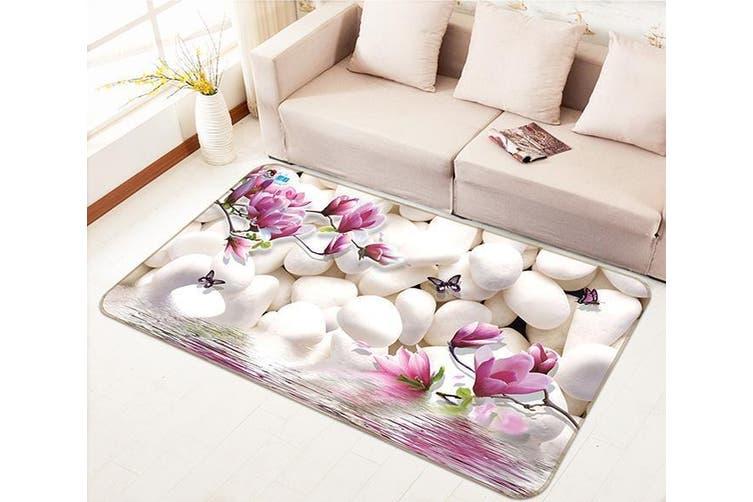 """3D Magnolia Flowers Stones 138 Non Slip Rug Mat, 160cmx240cm (63""""x94.5"""")"""