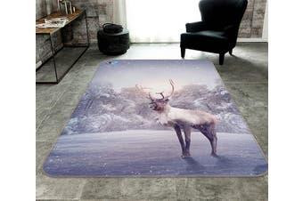 """3D Frozen Lake Deer 226 Non Slip Rug Mat, 160cmx240cm (63""""x94.5"""")"""