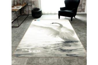 "3D Sea White Swan 223 Non Slip Rug Mat, 80cmx120cm (31.4""x47.24"")"