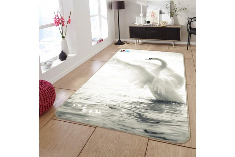 "3D Sea White Swan 223 Non Slip Rug Mat, 160cmx240cm (63""x94.5"")"