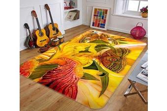"""3D Color Flowers Butterflies 221 Non Slip Rug Mat, 160cmx240cm (63""""x94.5"""")"""